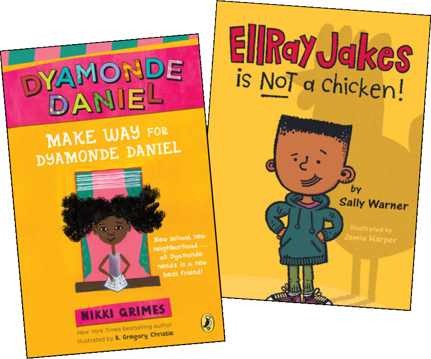 Image of books, Dyamonde Daniel by Nikki Grimes and Ellray Jakes is not a Chicken by Sally Warner